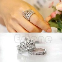 Retro Women White Gem Lady Silver Crown Wedding Band Ring Set Size 5-8 T52