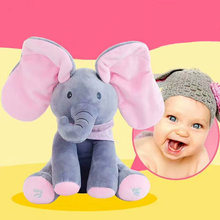 30cm cartoon elephant plush stuffed toy soft play music animal electric doll lovely baby Sounding early educational gift for kid