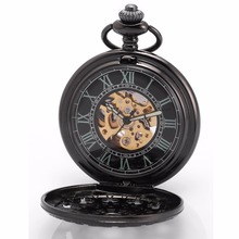 Classic Roman Analog Gun Tone Skeleton Cover Movement Hand Wind Relogio Clock Chain Fob Pendant Mechanical Pocket Watch /WPK201