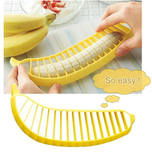 HOT SALE! 1 pcs Banana Slicer Chopper Cutter Plastic Banana Salad Make Tool Fruit Salad Sausage Cereal Cutter Plastic Banana(China)