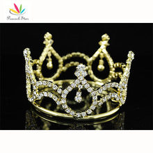 Peacock Star New Born Baby Crystal Gold Color Metal Full Circle Round Mini Tiara Crown CT1733