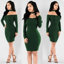 Nice design fashion women party club dress long sleeve short mini dress slim evening midi dress L0070