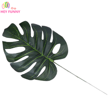 5pcs large Artificial fake Monstera palm tree Leaves green Plastic leaf wedding DIY decoration cheap Flowers arrangement plant