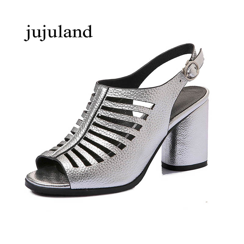 Summer Women Shoes Sandals Genuine Leather Gladiator Fashion Casual Square High Heel Big Size Shoes Back Strap Rome Hollow Solid<br>