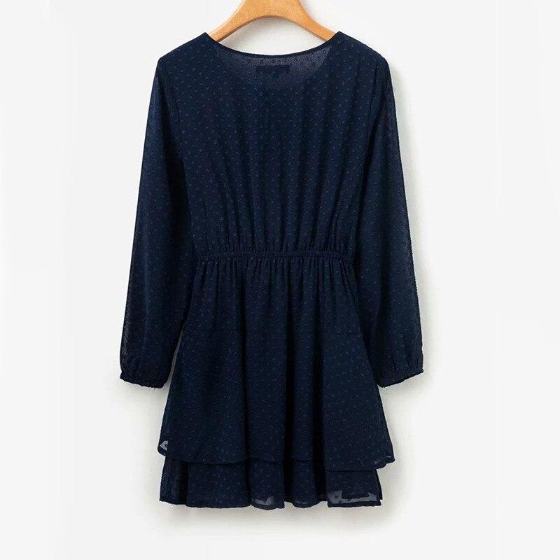 yinlinhe Blue Polka Dot Dress Women Long Sleeve Transparent Elegant Autumn Dress Elasticity Waist Ruffles Mini Vestido 6