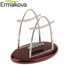 ERMAKOVA Newtons Cradle Art in Motion Red Plastic Base Balance Ball Physics Pendulum Science Wave Educational Toy Office Decor