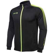 Kelme K077 Men Long Sleeve Stand Collar Breathable Windproof Sports Windbreaker Training Football Knitted Jacket Black