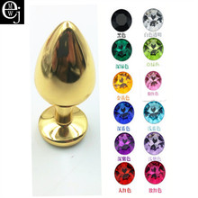 Buy EJMW Gold Anal Plug Stainless Steel Butt Plug 12 Color Gem Anal Butt Sex Adult Toys Women Men Anal Beads Big ELDJ216