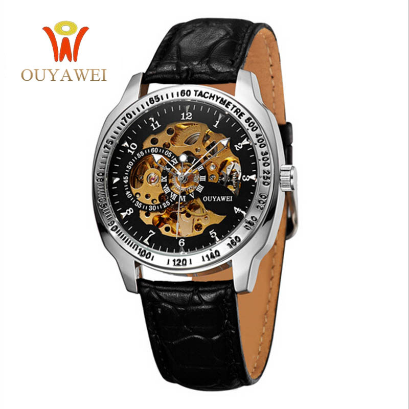 2016 NEWEST OUYAWEI Military mechanical watch Top Brand Luxury army wrist watches for men 22mm leather skeleton reloj hombre<br>
