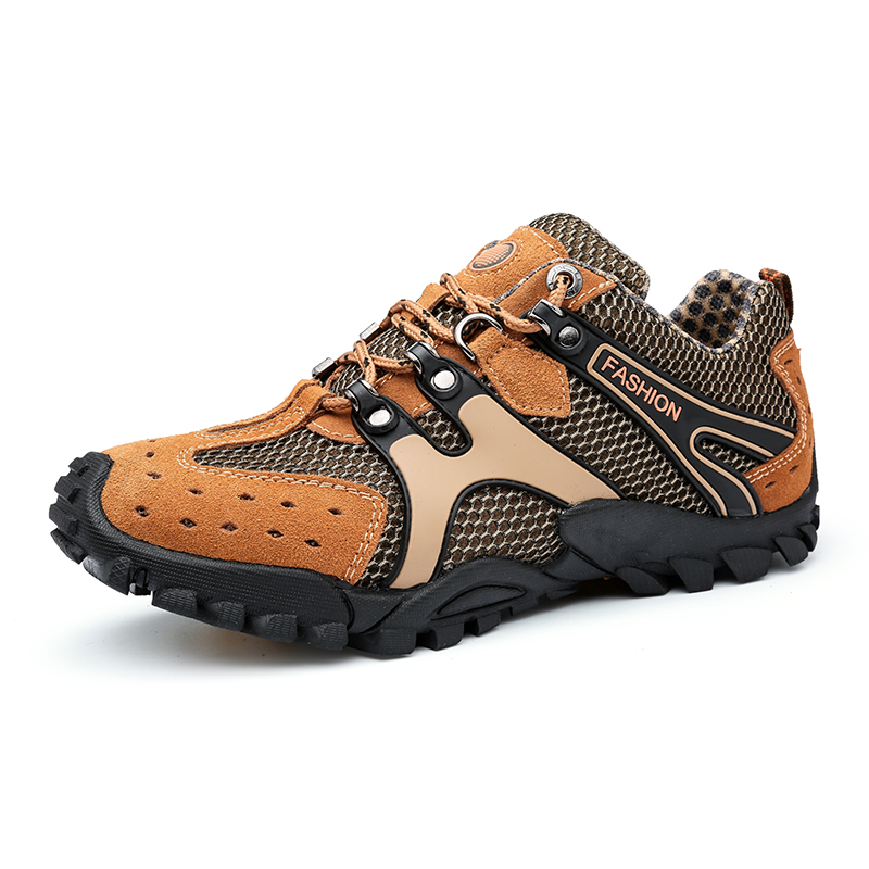 cheap good quality mans outside climbing shoes skidproof beehive patchwork leather mountainnering shoes classic male walk shoes<br><br>Aliexpress