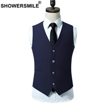 SHOWERSMILE Navy Blue Suit Vest Mens Waistcoats Weddings Style 4xl Spring Autumn Sleeveless Jacket Plus Size Gilet Male Clothing(China)