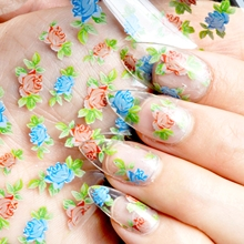 1 Roll Nail Wholesale Products Nail Art DIY Decal Flower Nail Glue Transfer Foil Mix Color Rose Easy Use GL33