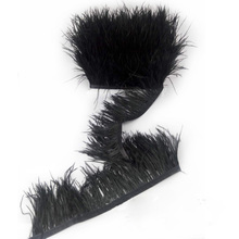 Woosee 1 yard Width 8-10cm Black Ostrich Feather Fringe Ostrich Feather Trimming For Dance Dress Making Headdress DIY
