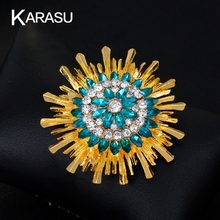 Fashion Vintage Classic Sunflower Blue Rhinestone Gold-color Crystal Sweater Brooch For Women Brooches Pins Jewelry Gifts