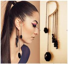 ED389 1pcs Wholesale High Quality Fashion From Vintage Beaded Tassels Hanging Ear Cuff Clip Earring