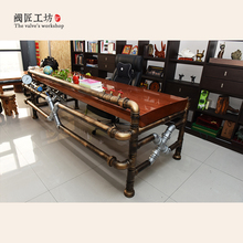 American Industrial Pipe Tea Table Made of Pipe and Valve Loft Industrial Creative Vintage Style Pipe Boss Table-J003(China)