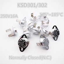 Buy 50Pcs KSD301/302 105-185 degrees Celsius Normal Close NC Temperature Controlled Switch Ceramics Thermostat 250V 16A for $16.40 in AliExpress store