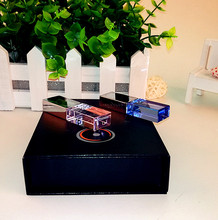 New Custom Color Crystal USB 2.0 Memory Flash Stick Pen Drive with Exquisite Gift Box(over 15 Pcs.free Logo Fee)Blue LED Light