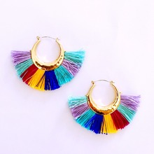 2017 Hot sale  bright colour fan tassel earrings
