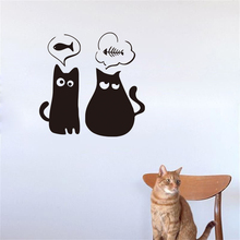 Cute Two Hungry Kittens Vinyl Wall Stickers Cats Funny Wall Decals For Home Decor Petshop Decoration