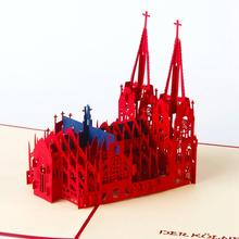 3D Coron Church laser cut pop up vintage birthday handmade blank greeting cards gifts wishes postcards crafts with envelope 3040(China)