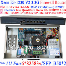 Universal Access Routers 1U Firewall Barebone with two SFP intel i350 six 82583v Gigabit lan Inte Quad Core Xeon E3-1230 V2 3.3G(China)