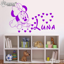 minnie baby wall stickers home decor sticker for wall custom name wall decals for girl's room home decoration wall poste rn180