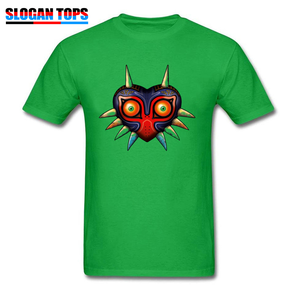 Hip hop Majoras Mask Zelda 17572 Male Tshirts 2018 Popular Summer Fall Short Sleeve Tops Shirts Crewneck 100% Cotton T-Shirt Majoras Mask Zelda 17572 green