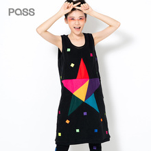 PASS 2017 New Style Women Dress One - Piece Dress In Sleeveless With Star Print Colorful Free Style Fashion Women Dress
