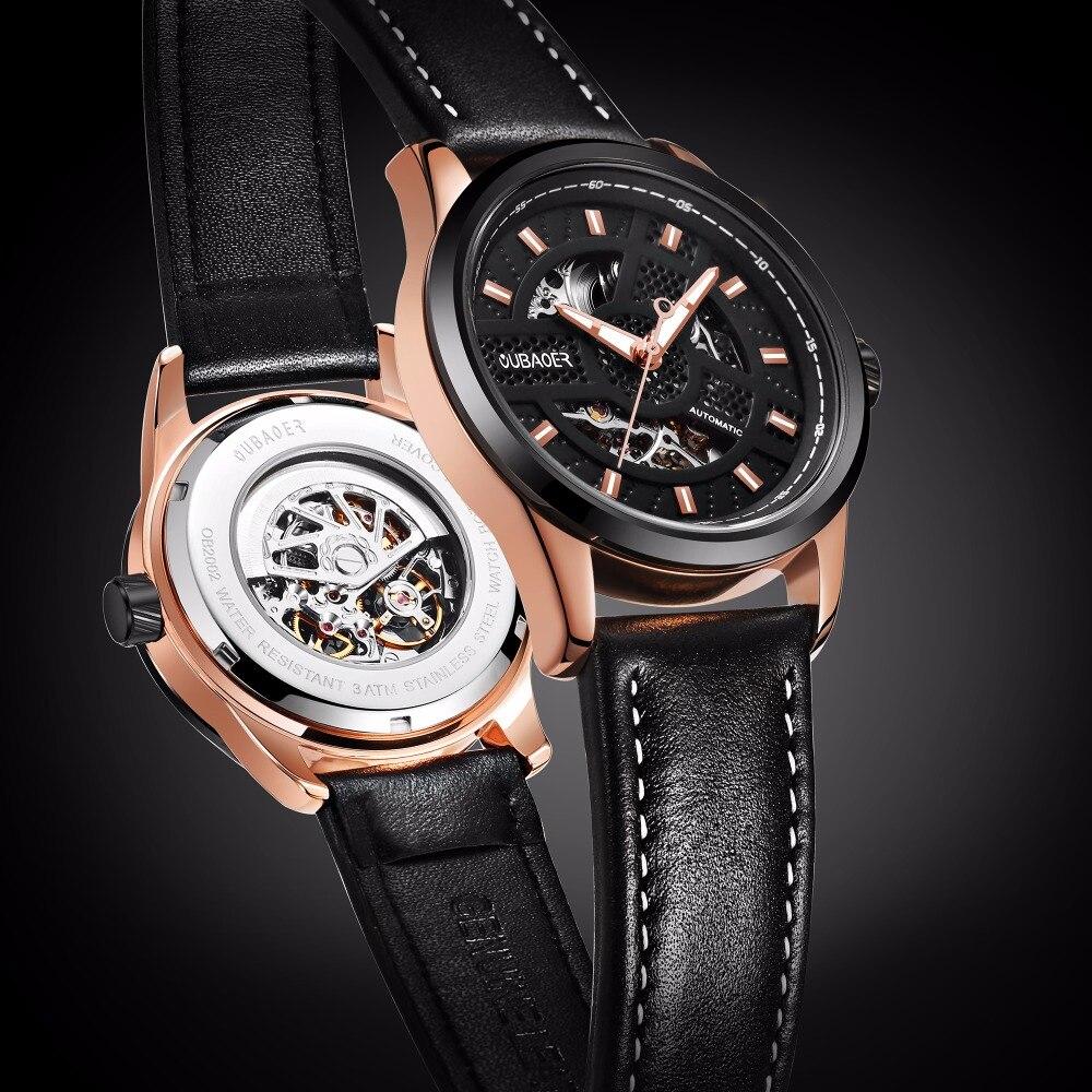 OUBAOER Top Brand Luxury Automatic Mechanical Watch Men Leather Business Waterproof Sport Watches Relogio Masculino Men Watch <br>