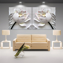 Modern 3D white lotus definition pictures canvas Home Decoration living room Wall modular painting Print cuadros(no frame)2pcs(China)