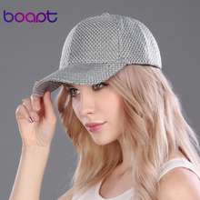 BOAPT linen material weave polyester women baseball caps vintage travels hats for men casual cap retro stripe female summer hat(China)
