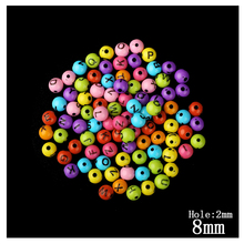 Mixed Color 8mm Alphabet Round Beads 180pcs/Lot Wholesale European Candy Large Hole 2mm Bead For Kids DIY Jewelry Making