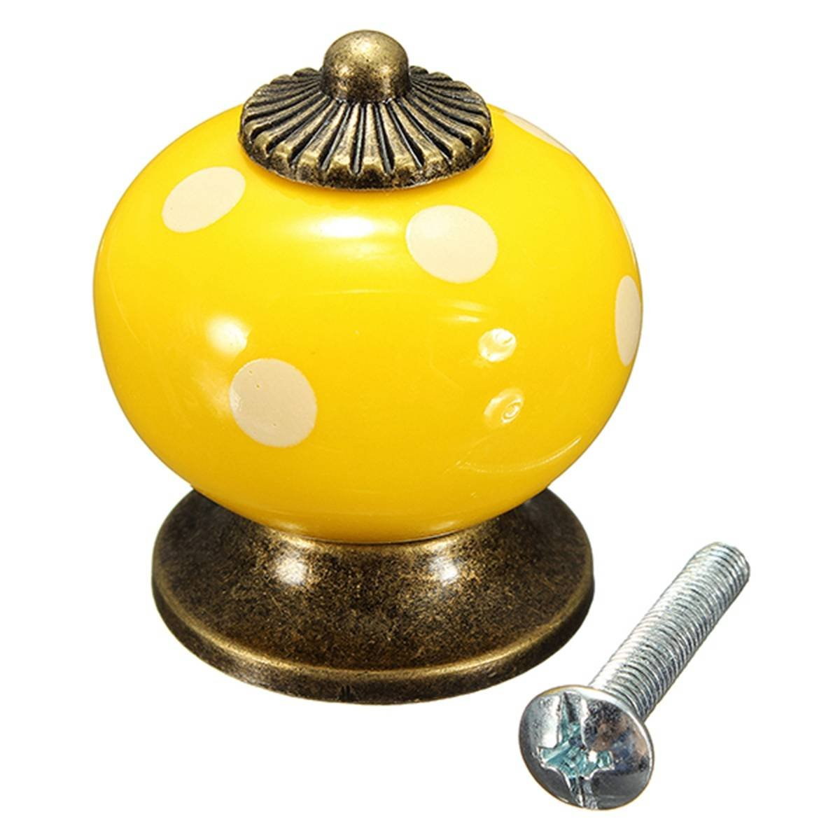 WSFS Hot Sale 10pcs Retro Polka Dot Ceramic Door Knob Cabinet Cupboard Drawer Locker Handles Yellow<br><br>Aliexpress