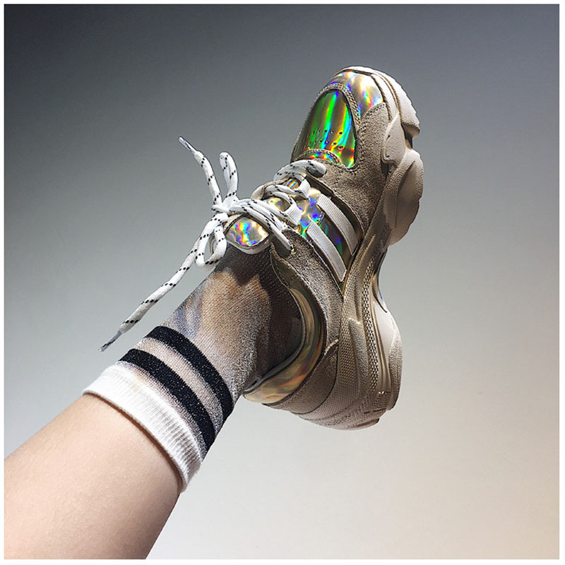 2018 Spring Autumn Shoes Women Platform Shoes Lady Lace Up Casual Shoe Creepers Harajuku Punk Style Girl Gold Silver Shoes Woman (1)