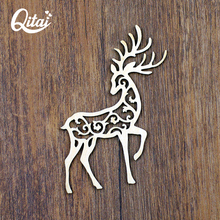 QITAI 12 Pcs/Lot Cute Animal Shape Wooden Decor Laser Cut Wooden Cirrus Hallow Deer Wedding Home Shop Decoration Gift WF285(China)