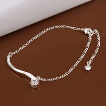HOT! 925 sterling silver Anklets,925 silver fashion jewelry charm Anklets beauty rhinestone foot chain Anklets for women SA012