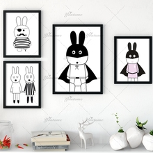 New decorative pictures poster art for kids room baby painting black and white batman/bunny posters and prints Frame not include(China)