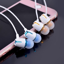 Beautiful 3.5mm Gold-plated earphone 1.2m Microphone volume control Girl Boy friend gift for Iphone Xiaomi Huawei Meizu HTC OPPO(China)