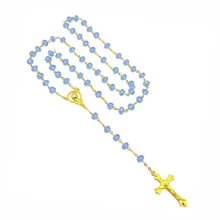 NEW Catholic Religious Women Christian Virgin Mary Rosary Necklace Jewelry Light Blue Crystal Prayer Beads