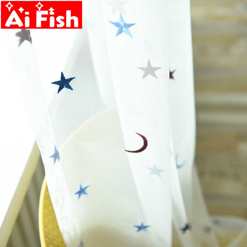 Simple Modern Colorful embroidered Stars Moon Window Screens Sheer Tulle Curtains For Living Room White Balcony Yarn my056-40