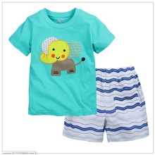 Blue Elephant Children Clothes Sets Summer Short Sleeve T-Shirt Stripe Pants Suit Baby Boys Clothing Kids Tops Fashion Outfits