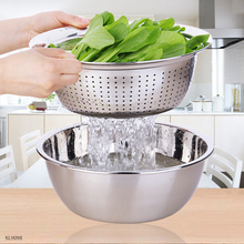 Pro Vegetable Washing Colander Stainless Steel Mesh Colander Three Sizes Over Sink Premier Fruit Wash Bowl Houseware(China)