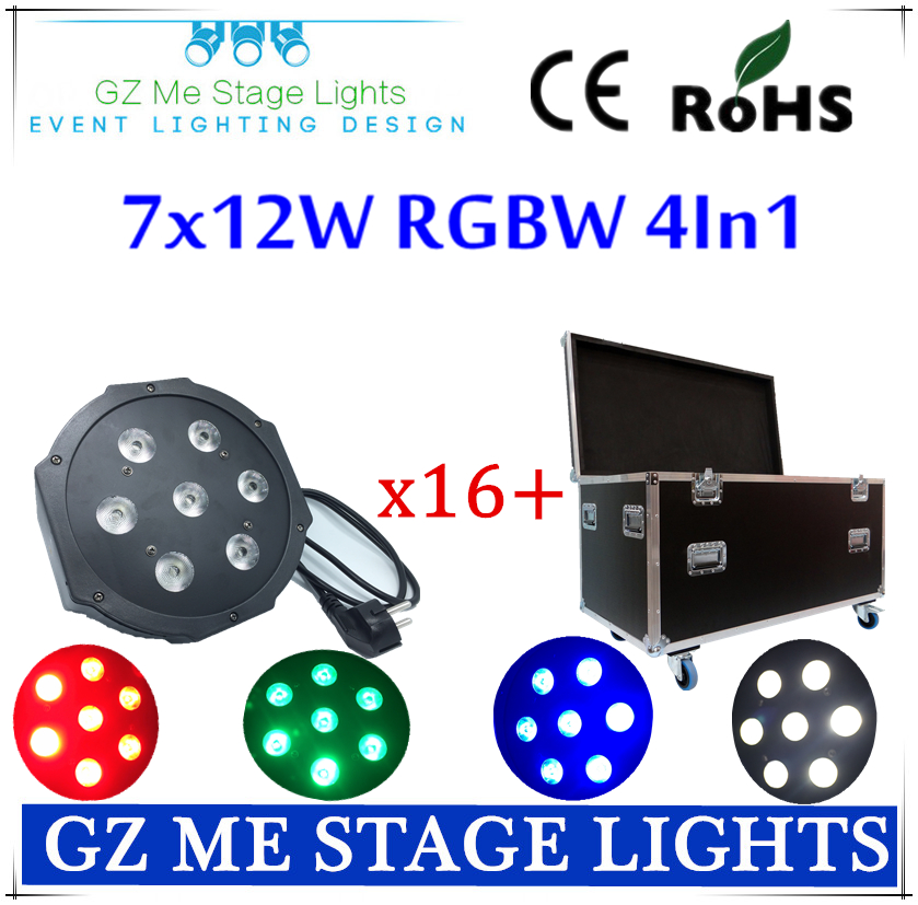 16pcs/lot American 7x12w RGBW 4IN1 DMX Stage Lights With Flight Case Business Lights Led Flat Par High Power Light for the Party<br>