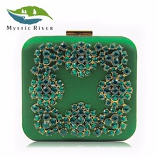Mystic River Women Evening Bag Ladies Clutch Purse Blue Diamond Box Clutches Wedding Party Bags(China)