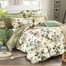 Designer European Rustic Flowers Jacquard Bedding Set,Elegant Striped Bed Sheet Set,Modern Girls Duvet Covers,4Pcs
