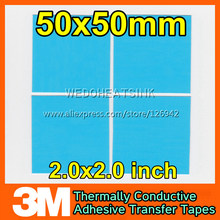 Free Shipping 4pcs 50x50mm 3M 8810 Thermal Compound Double Side Acrylic Adhesive Blue Heatsink Cooling Pad Tape For LED Radiator(China)