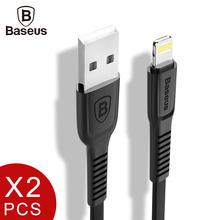 2pcs/lot, Baseus Flat USB Cable For iPhone 7 6 6s Plus 5 5s se iPad Fast Charging Data Sync Charger Lighting Mobile Phone Cables