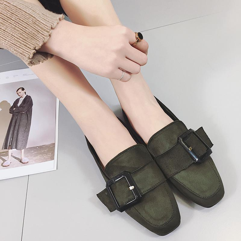 2017 New Arrival Square Toe Flat Shoes Women Designer Belt Buckle Slip On Ladies Loafers Comfort Shallow Working Flats Leather<br><br>Aliexpress
