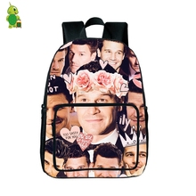 David Boreanaz Overlay Backpack Occident Style School Bags for Teenagers Boys Girls Travel Rucksack Women Men Fans Daily Bags(China)